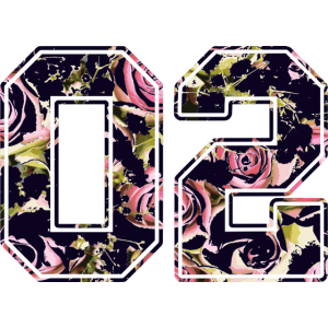 Nummer 02 Ziffer Zahl mit Rosen Muster