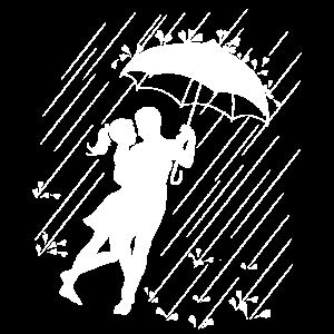 Liebespaar unter einem Regenschirm