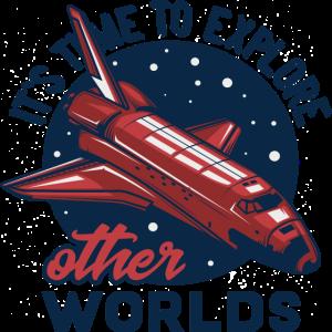 Zeit neue Welten zu entdecken Spaceshuttle