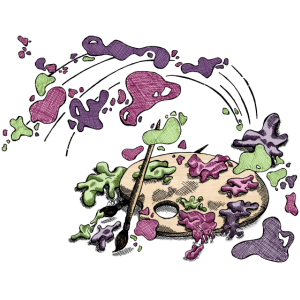 Farbpalette mit Farbklecksen [lila]