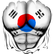 South Korea Flag Ripped Muscles, six pack, chest t-shirt