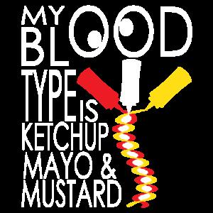 Blut Ketchup Majo Senf Snacken Snack Blutgruppe