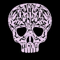 Totenkopf aus Friseurutensilien für Friseure/innen