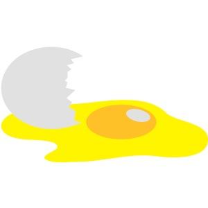 eine defekte Eigelb Eier mit Schale