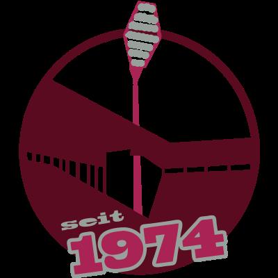 Seit 1974 - Das Dortmunder Stadion in seiner ursprünglichen Architektur von 1974 mit den roten Fliegenklatschen in den noch nicht ausgebauten Ecken. Für alle Fans der Westfalenmetropole Dortmund und des Deutschen Meisters 2012 - dortmund,Westfalen,Stadion,Deutscher Meister