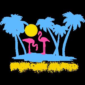 Flamingos Flamingo Sommer Palmen Paradies Insel