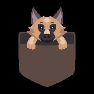 Schäferhund in Tasche Welpe süss Geschenk