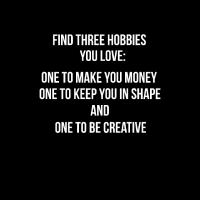 three hobbies - Poster Quote Wandbild Wandtattoo