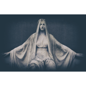 Marmor Statue Friedhof Heilige verwittert
