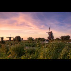 Kinderdijk Windmühlen Holland Abendrot malerisch