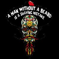Kopf des Todes mexikanischer Hipster bärtiger Schnurrbart cha