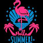 09 Flamingo Hello Summer Love Heart Palm Beach