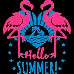 08 Flamingos Hello Summer Love Heart Palm Beach