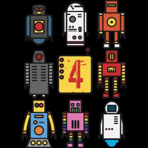 Retro Roboter 4. Geburtstag
