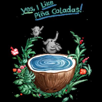Pina Colada Pool - Yes I like Pina Colada und jetzt in den Jacuzzi. Der zweite Minielefant wartet schon auf dem Sprungbrett - süß,summercontest,summer,spielen,schwimmen,pina Colada,kokosnuss,elephant,Tropic,Splashdiving,Sommerfarben,Sommer,Pool,Pina Colada song,Kokos,Kind,Kids,Karibik,Ina Worms,Illustration,Elefant,Coconut,Blätter,Bath,Arschbombe