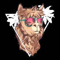 Sommer-Lama mit Sonnenbrille - Lama-Geschenk