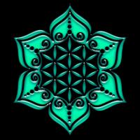Blume des Lebens - Lotus - grün - Symbol der Vollkommenheit und Harmonie