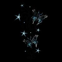 Tattoo Ranke mit Sternen und Schmetterlingen