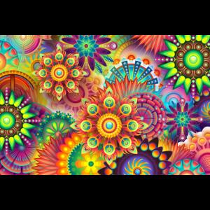 Bonte Hippie Blumen Muster