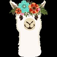 Alpaka mit Blumen