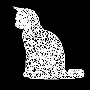 Katze Polygon weiss