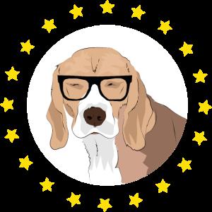 Nerd Hund mit Brille Beagle
