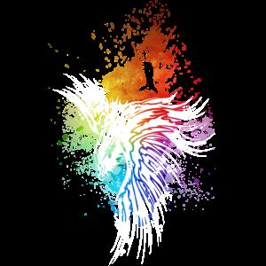 Rabe Regenbogen-Kleckse weiß