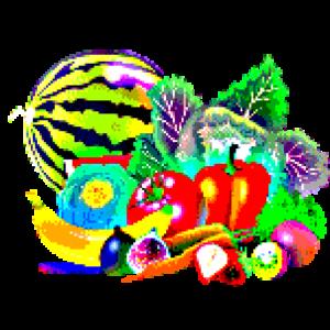 Obst und Gemüse Pixelart Geschenkidee