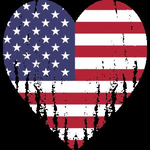Herzmotiv Flagge Vereinigte Staaten Geschenk Idee
