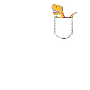 T-Rex in der Brusttasche - Dino in der Tasche