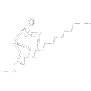strichmaennchen senior auf treppe