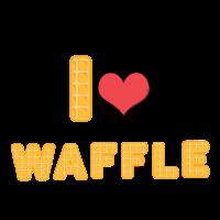 I love Waffle Waffel Waffeln Süß Herz Süßigkeit