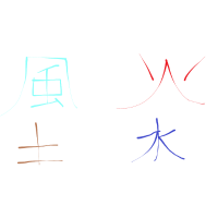 die 4 Elemente auf Japanisch