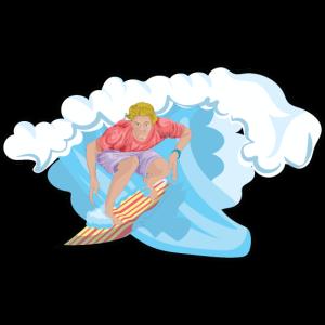 Surfer auf dem Surfbrett beim Wellenreiten Welle
