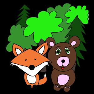 Fuchs und Bär im Wald. Als Geschenk. Freundschaft