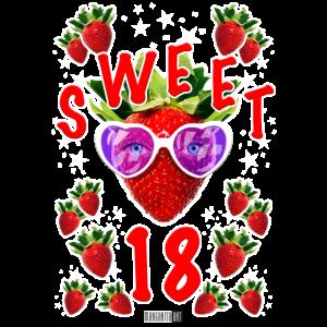 Sweet 18 Geburtstag Erdbeere Sonnenbrille