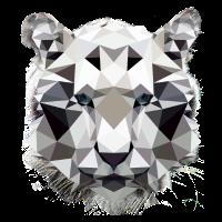 Weißer Tiger niedrig Poly