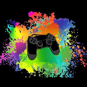 Controller Farbklecks Bunt Gaming Geschenk Idee