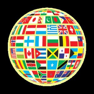 Weltkarte Globus Erdkugel Landesflaggen Kontinente