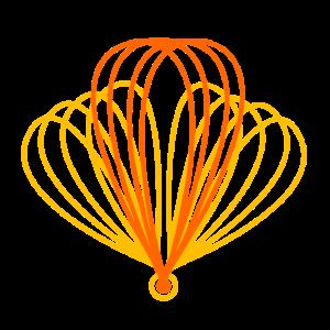 schematischer orangefarbener Flug