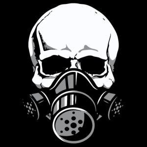 Totenschädel mit Gasmaske