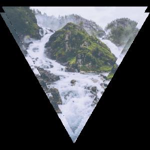 Mystischer Wasserfall Dreieck Hipster Design