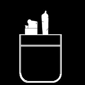 Joint und Feuerzeug in Hemdtasche