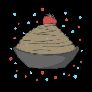 Eiskrem mit Erdbeere