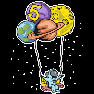 Astronaut mit Planeten Ballons - 5. Geburtstag