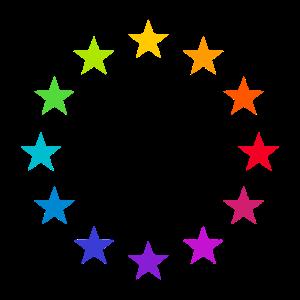 Europa EU Farbige Bunte Sterne Regenbogen Zeichen