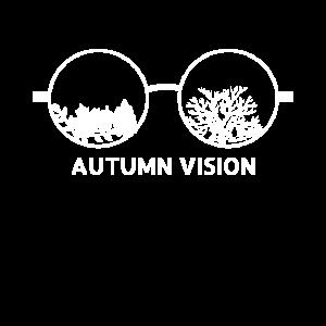 Sicht im Herbst Durch die Brille mit Laubblättern