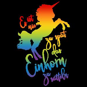 Einhorn satteln Spruch Regenbogen Silhouette bunt