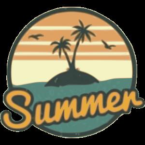 Summer Retrolook- Sommer, Insel mit Palmen