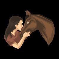 Girl Kissing A Horse - Reiten Reiterin Reitsport